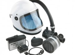 Kasco K80S-T5 6-volt DC spray helmet with Battery Pack